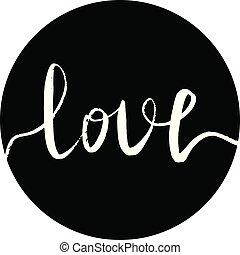 inscrição, branca, amor