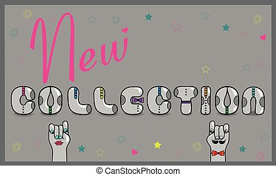 inscrição, vetorial, novo, ilustração, collection.