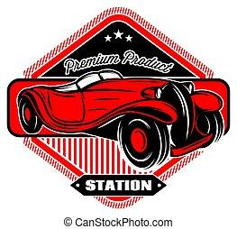 inscrições, car, pretas, retro, emblema, vermelho