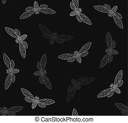 insetos, padrão, seamless, experiência., vetorial, cigarra, pretas