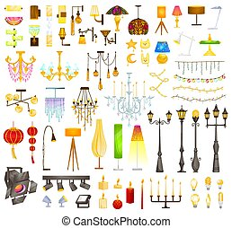 instalações, ilustração, cobrança, apartamento, modernos, interior, elemento, vindima, mais claro, lâmpada, caricatura, lustre, dispositivos, ou, vetorial, elétrico