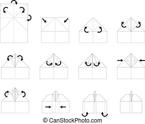 instrução, origami, vetorial