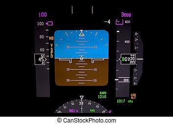 instrumento, avião, technology:, panel.
