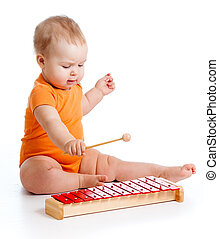 instrumento, pequeno, tocando, menina, musical