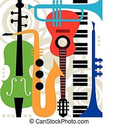 instrumentos, abstratos, vetorial, música