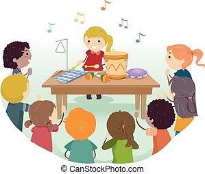 instrumentos, jogo, crianças, stickman