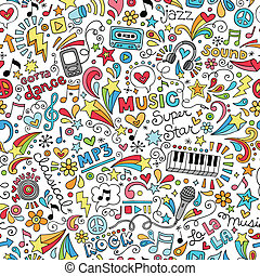 instrumentos, música, doodle, padrão