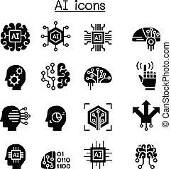 inteligência, jogo, artificial, ícone, ai