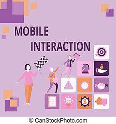interação, interaction., mostrando, conta, datilografado, inspiração, computadores, imaginations, significado, convertendo, novo, conceito, sinal, usuários, histórias, móvel, entre, registrar