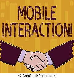 interação, usuários, negócio, móvel, foto, mostrando, computadores, saudação, escrita, nota, agreement., forma, homens negócios, mãos, showcasing, interaction., agitação, entre