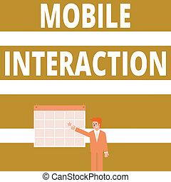 interaction., interação, estrela, usuários, apontar, móvel, foto, mostrando, computadores, escrita, negócio, showcasing, mão, entre, conceitual, homem negócios, sorrindo, wall., calendário