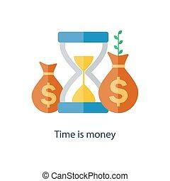 interesse, concept., renda, dinheiro., fundo, vetorial, tempo, growth., composto, plan., futuro, pensão