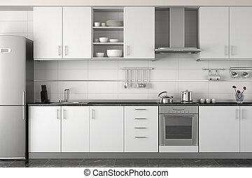 interior, branca, modernos, desenho, cozinha