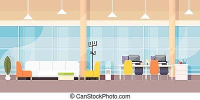 interior escritório, desenho, apartamento, modernos, local trabalho, escrivaninha, banco