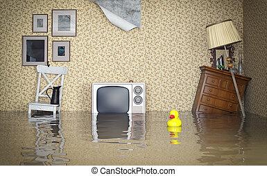 interior, inundado