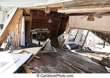 interior, lar, danificado, inundação