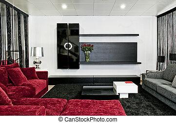 interior, lar, modernos, desenho