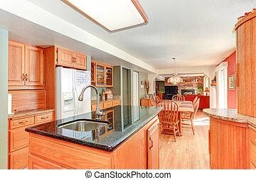 interior, madeira, carvalho, cabinetry, luminoso, cozinha