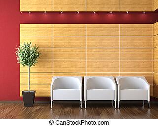 interior, modernos, desenho, recepção