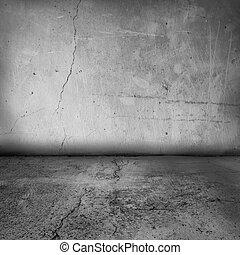 interior, parede, grunge, chão