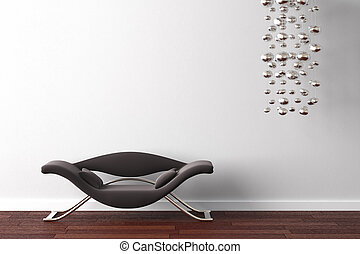 interior, poltrona, lâmpada, desenho, branca