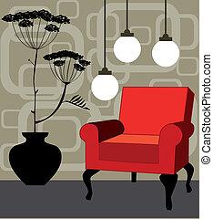 interior, vetorial, vermelho, poltrona, retro