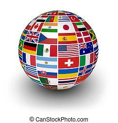 internacional, globo, bandeiras, mundo