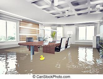 inundação, escritório, interior.