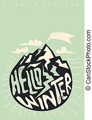 inverno, conceitual, cartaz, olá, desenho, ou, camisa t