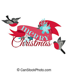 inverno, decoração, -, pássaros, vetorial, desenho, scrapbook, cartão natal