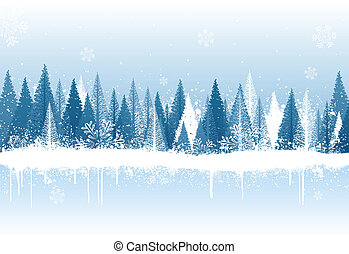 inverno, fundo, floresta