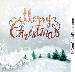 inverno, nevado, fundo, fir-trees., feriado, lettering., natal, paisagem