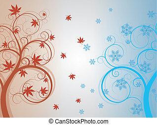 inverno, outono, árvore