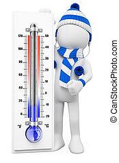 inverno, pessoas., dias, branca, gelado, 3d