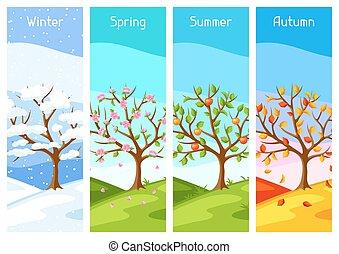 inverno, primavera, autumn., árvore, ilustração, quatro, paisagem, seasons., verão