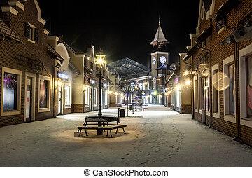 inverno, relógio, rua, noturna, torre, paisagem