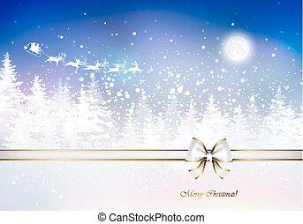 inverno, sobre, claus, varreduras, floresta, santa, sleigh