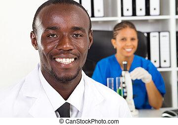 investigador, americano, médico, africano