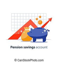 investimento, banco, superannuation, finanças, ilustração, vetorial, dinheiro, fundo, tempo, futuro, piggy, pensão