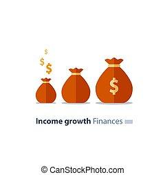 investimento, fundraising, sacolas, conceito, dinheiro, superannuation, finanças, dinheiro, vetorial, pensão, fundo, tempo, futuro, ícone