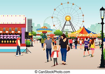 ir, parque, divertimento, ilustração, pessoas