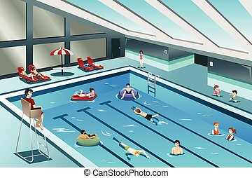 ir, pessoas, natação