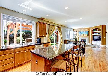 island., clássicas, grande, madeira, granito, cozinha