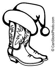 isolado, chapéu, santa, experiência., natal, printable, botas, branca, vetorial, boiadeiro, tradicional, ilustração, gráfico