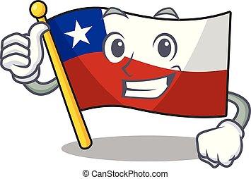 isolado, cima, bandeira, polegares, chile, caricatura