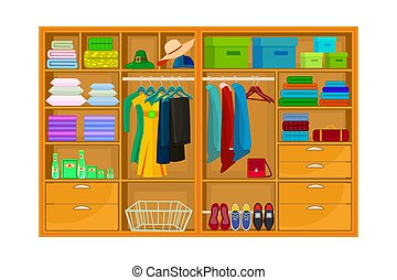 isolado, espaço, branca, interior, armário, guarda-roupa, ou, experiência.