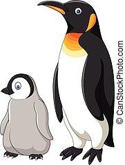 isolado, fundo, mãe, bebê, branca, caricatura, pingüim