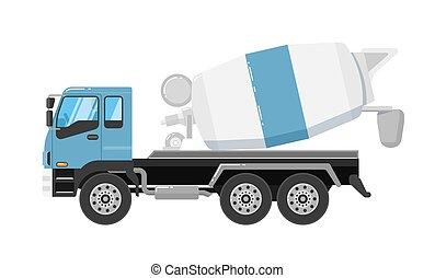 isolado, misturador, concreto, caminhão, fundo, branca