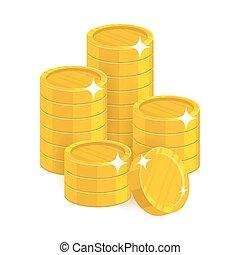 isolado, moedas, caricatura, ouro, pilha