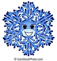 isolado, natal, branca, máscara, snowflake, fundo, médico